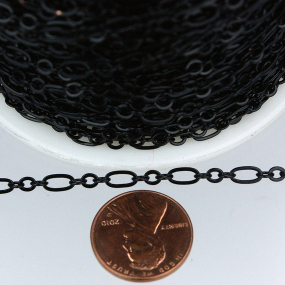 Black Chain Bulk Chain, 32 ft of ( 3 and 1 ) Long and Short Chain Flat Cable Chain Necklace Chain 6.3 N 4mm - SOLDERED Chain