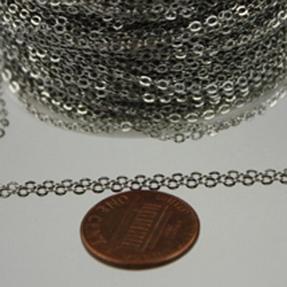 12 ft Antique Silver Chain - 2.4x1.7mm SOLDER Chain - Rhodium Plated little Oval Flat Soldered Cable Chain - Bulk Wholesale Chain - from USA