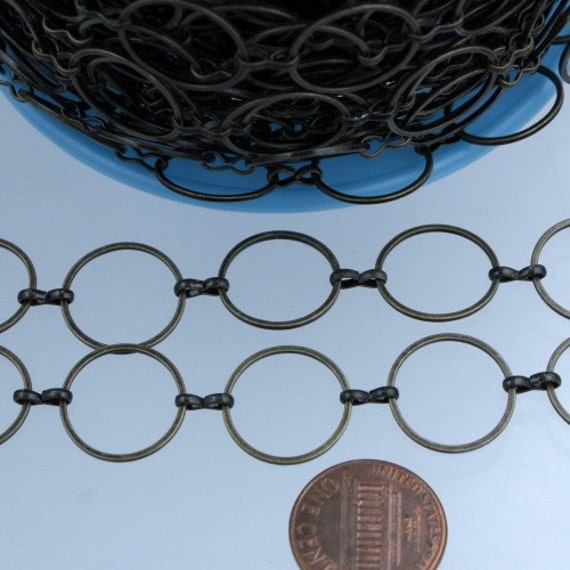 Antique Brass Chain, 5 ft. of Antique brass finished on Brass BIG circle Quick Links Chain - 15mm