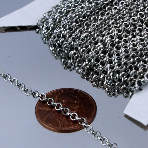 Rhodium Plated Rolo Chain bulk, 12 ft of Antique Silver Rolo Cable Chain 2.5mm - Unsoldered Links - Necklace Bracelet Wholesale Bulk Jewelry