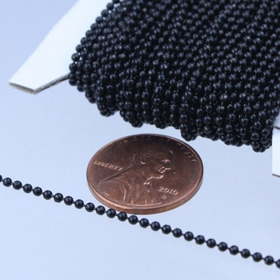SALE Sale 32 ft. spool of Black finished brass ball chain - 1.5mm ball size with 100 pcs of black connector(insert type)