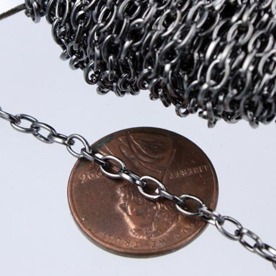 32 ft. Gunmetal finished Small Drawn oval Cable chain - 3.9x2.5mm unsoldered link