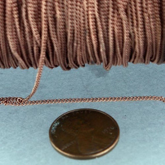 Antique Copper Chain Bulk Chain, 10 ft spool of Antique Copper Finished over brass tiny curb chain - 1.3mm soldered link