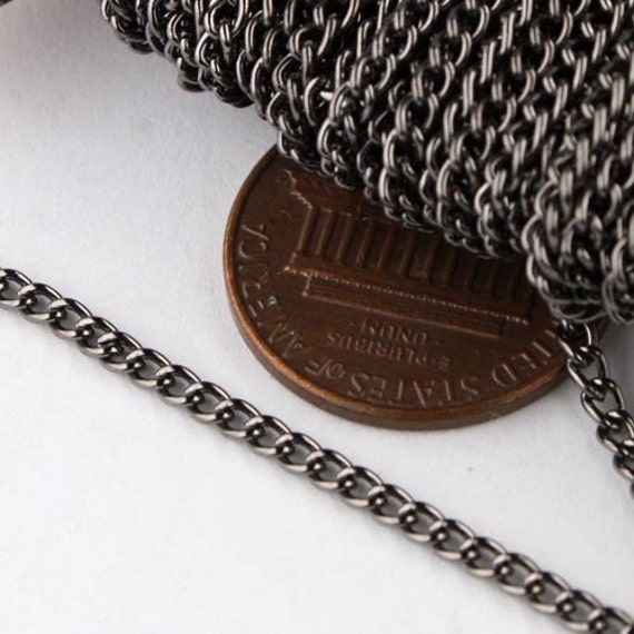 SALE Sale 32ft of Gunmetal Finished Curb chain 2.2mm - Unsoldered Links