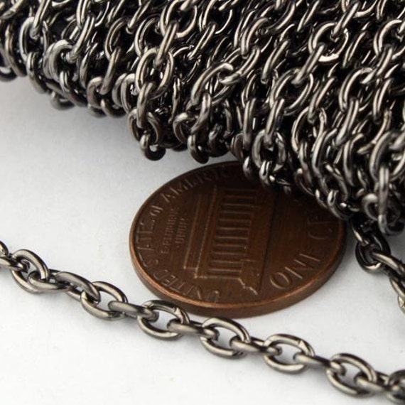 10 ft Gunmetal Cable Chain - 4x5mm 19 Gauge (0.9mm) Unsoldered Link - Heavy Strong Cable Chain Bulk Wholesale Chain - from California USA