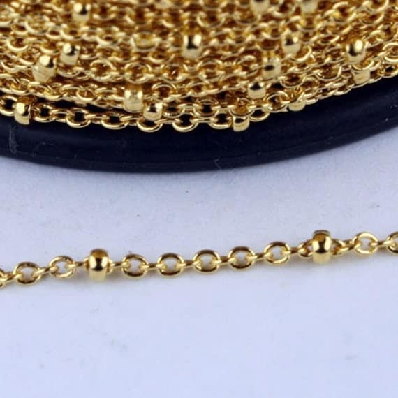 Gold Plated Chain Bulk Chain, 32 ft spool of tiny Satellite Chain Cable BALL Chain - 2.0x1.4mm SOLDERED Necklace Sattellite Chain