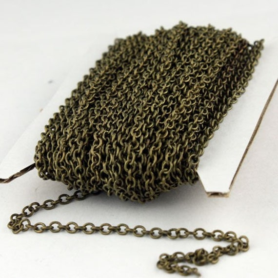 Antique Bronze Chain, bulk, 10 ft. of Antique Brass  SOLDERED Cable Chain - 3.2x2.8mm SOLDERED LInk