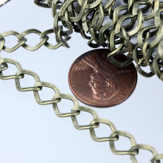 Antique Bronze Curb Chain Bulk,  32 ft of Antique Brass Big Hammered Curb Chain - 8.7x7.3mm Unsolodered - Necklace Bracelet Wholesale DIY