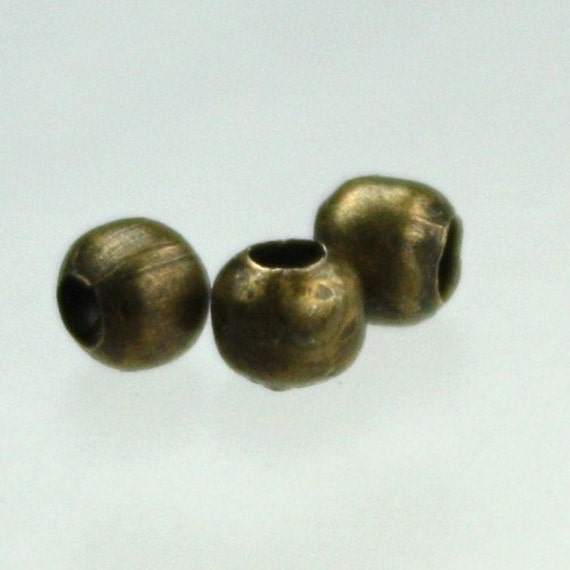 500 pcs of Antique Brass Plated Round Spacer Beads - 3.2mm