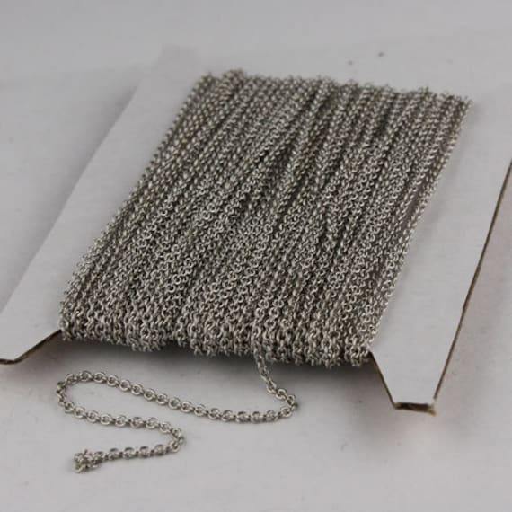 Rhodium Plated Chain Bulk, 10 ft of Tiny Round SOLDERED Chain Cable Chain 1.6x1.4mm- Free Adequate Jump Rings 50pcs Necklace Wholesale Chain