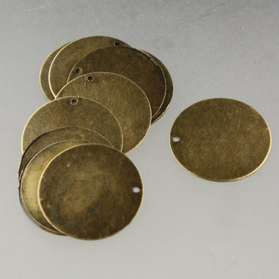 20 pcs of Antique Brass Finished Coin drop dangle 25mm about 1 inch
