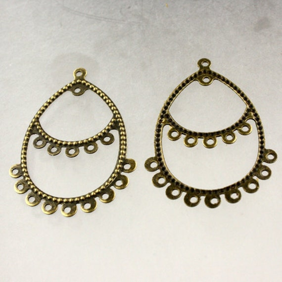 20 pcs of Antique Brass finished filigree drop dangle earring - 40x28mm