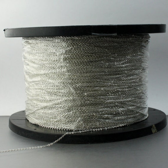 10 ft. of 925 Sterling Silver Little Tiny Flat Round Cable Chain - 1.6x1.25mm
