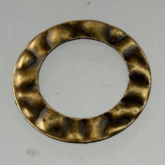20 pcs of antiqued Copper finished hammered filigree Donut drops 20mm