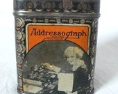 RESERVED FOR DEBBIE Vintage 1920s-30 Addressograph Tin with Women Working Graphics