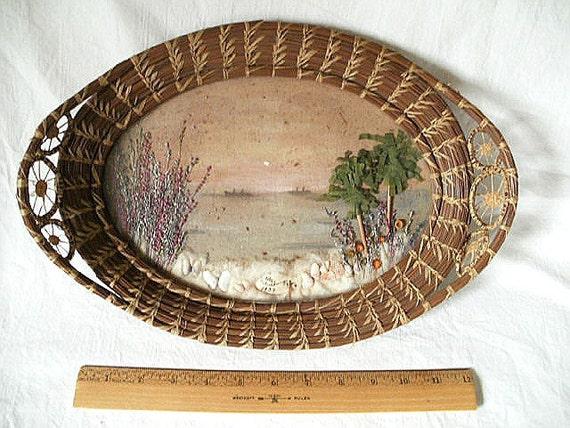 1939 Basket Tray with Folk Art Diorama St. Petersburg, FL Made with Shells, Paper, Etc.