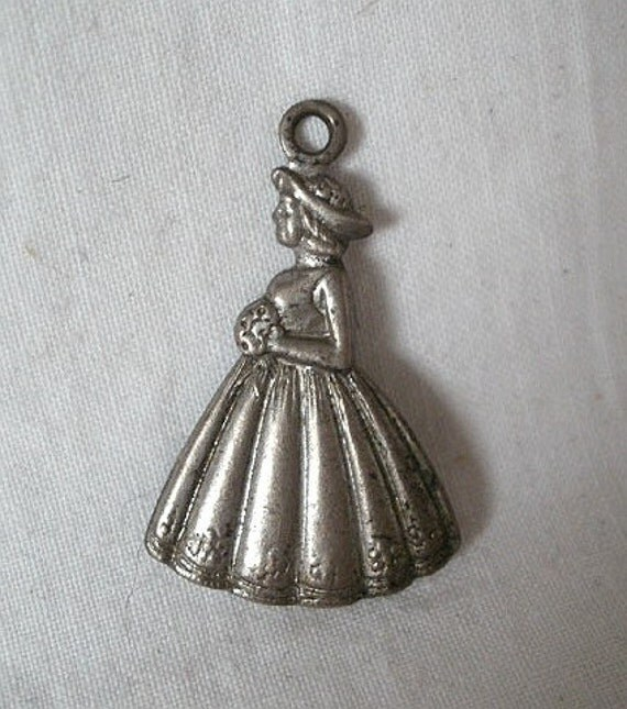 Vintage Danecraft Sterling Silver Lady with Bouquet Bridesmaid Charm