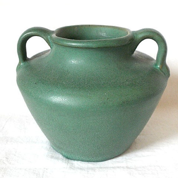 Reserved for Tom Vintage American Art Pottery Matte Green Glaze Applied Handles Pottery Vase Mini Urn