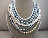 RESERVE FOR S: Silver Springs -- Swarovski Multi Strand Cluster necklace