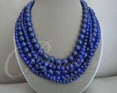 Baltic Sea -- Genuine Lapis Lazuli Multi-Strand necklace