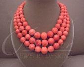 Island Coral -- Genuine Salmon Coral Triple-Strand necklace