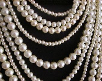 Sophia Necklace -- Swarovski Pearl 7-Strand Multi-Strand Necklace