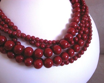 Cherry Jubilee -- Crimson Jade Multi Strand necklace