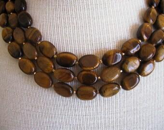 Nigella -- Triple Strand Tigers Eye Gemstone Necklace