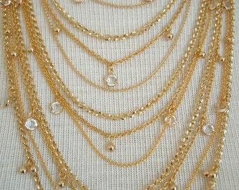 SPECIAL ORDER -- Lyonnesse -- Gold Multi Strand Chain and Swarovski Crystal Statement Necklace