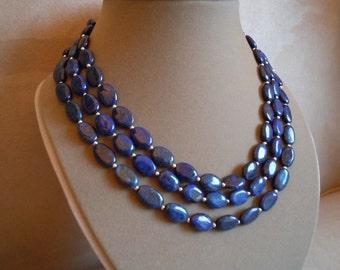 Blue Bayou -- Lapis Lazuli triple-strand necklace