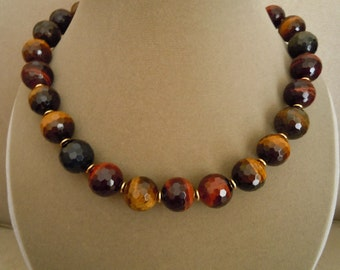 Tory -- Multi-Color Tigers Eye Faceted Round stone necklace
