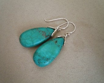 Barcelona -- Turquoise Teardrop dangle earrings