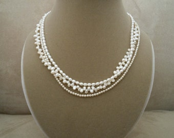 Renaissance -- Triple Strand Freshwater Pearl necklace