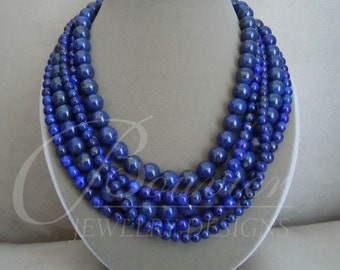 Baltic Sea -- Genuine Lapis Lazuli Multi-Strand necklace