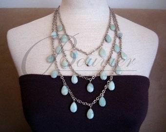 Mykonos -- Amazonite Gemstone Triple Strand long necklace