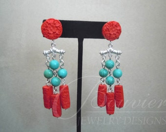 Costa Rica -- Red Cinnabar and Turquoise earrings