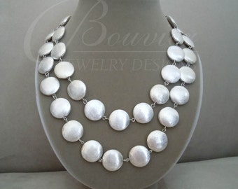 Glacier -- Brushed Silver Double Strand Coin necklace