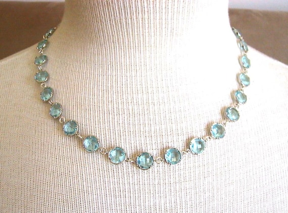 Angelic -- Aquamarine Round Crystal necklace