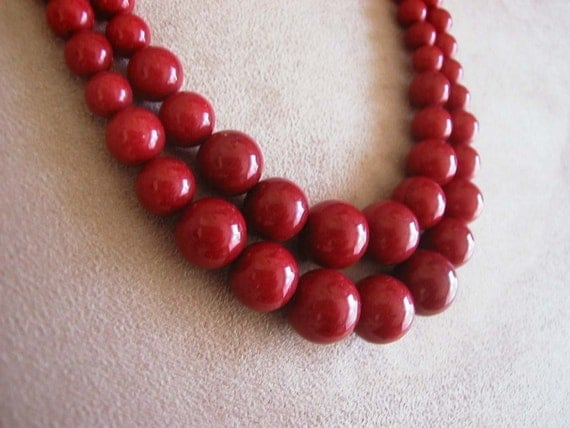 Bella Rouge -- Red Jade Double-Strand necklace -- Customizable Number of Strands