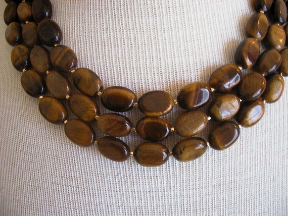Nigella -- Triple Strand Tigers Eye Gemstone Necklace