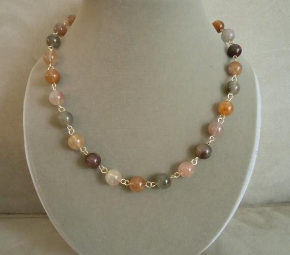 NEW MARKDOWN: Morocco -- Red Quartz Smooth Round Gemstone necklace