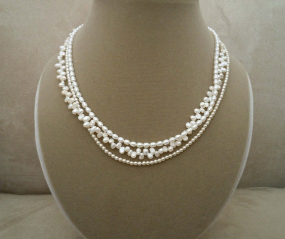 Renaissance -- Triple Strand Freshwater Pearl necklace