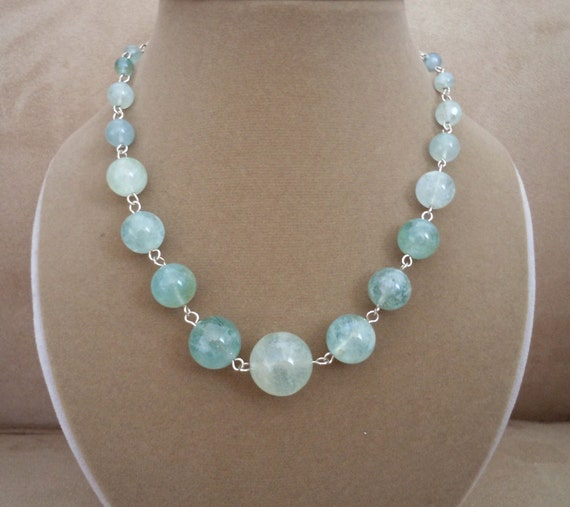 Reserved for S -- NEW MARKDOWN: Summer Fling -- Graduated Aquamarine Round Gemstone necklace (One of a Kind)