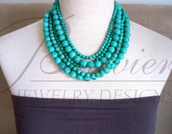 RESERVED for S: Catarina of the Sea -- Genuine Turquoise Multi-Strand necklace