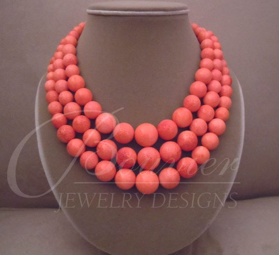 Island Coral -- Genuine Salmon Coral Triple-Strand necklace