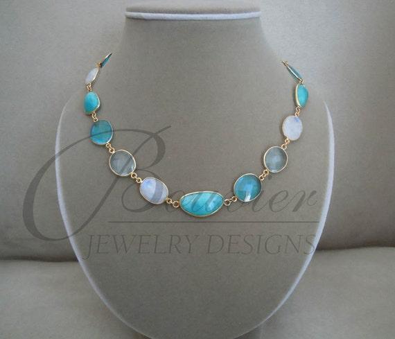 Greek Islands -- One of a Kind -- Peruvian Blue Opal, Aquamarine, Rainbow Flash Moonstone, Blue Topaz necklace
