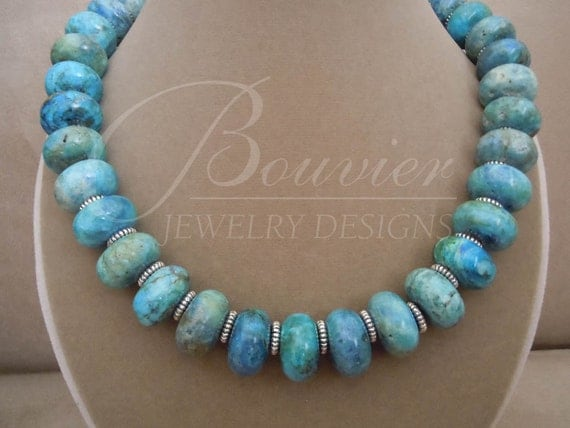 Evora -- One of a Kind -- Arizona Turquoise Bold Rondelle necklace