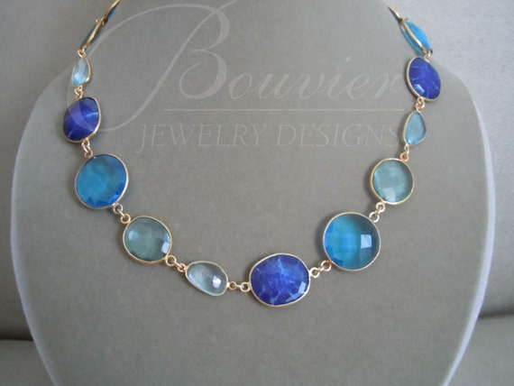 Garden Path -- One of a Kind -- Lapis Lazuli, Swiss Blue Quartz, Aquamarine, Sky Blue Topaz Gemstone Connector necklace