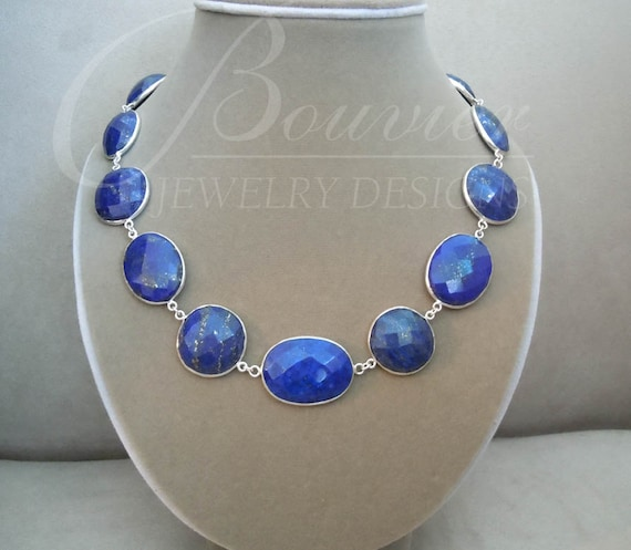 NEW Woodacre -- One of a Kind -- Lapis Lazuli Faceted Domed Connector necklace