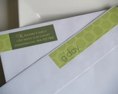 G'day green polka dot return address label wraps print your own and save